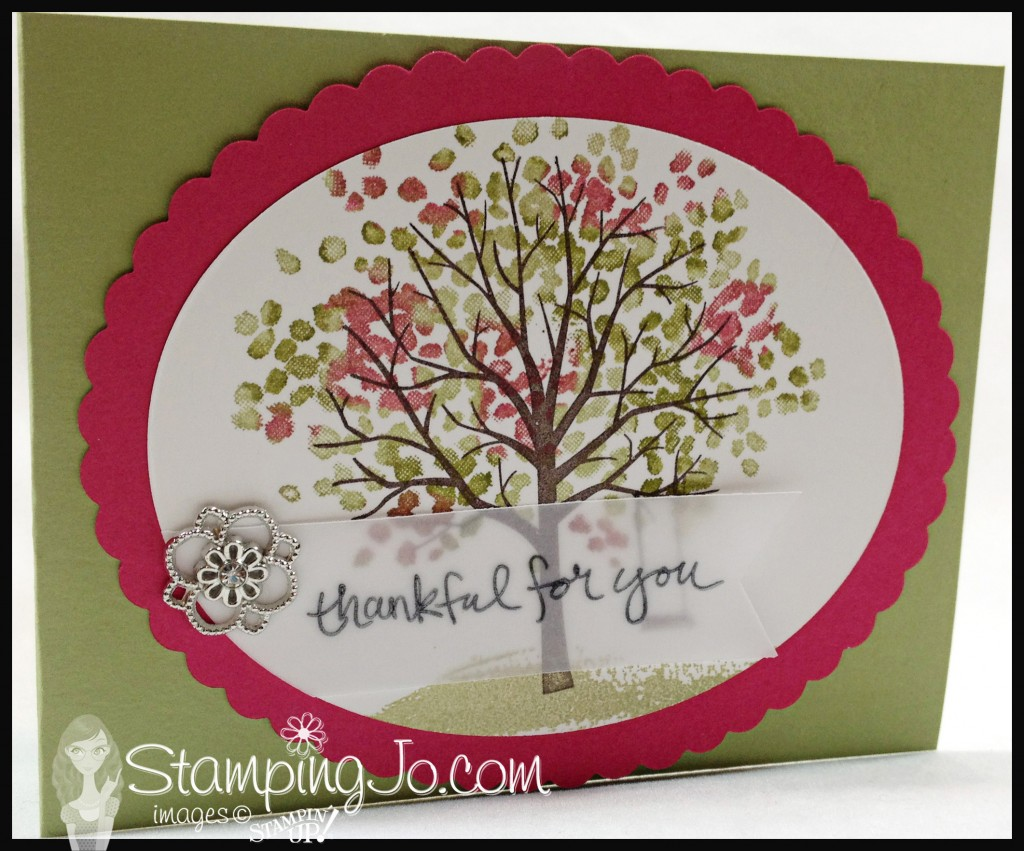stampingjo sheltering tree, stampin up, something borrowed embellishments, vellum cardstock, oval framelits