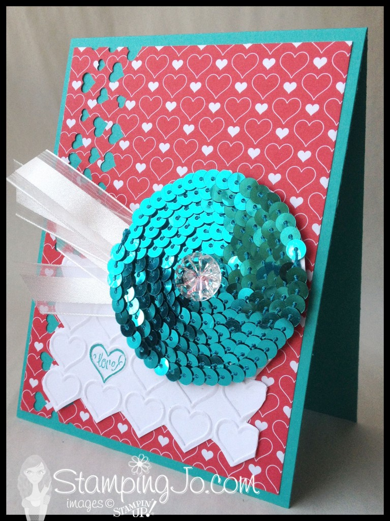 stampingjo sequin flower, confetti heart border punch, stampin up, happy heart textured impressions embossing folder, bermuda bay sequin trim, artisan embellishment kit, stacked with love dsp,