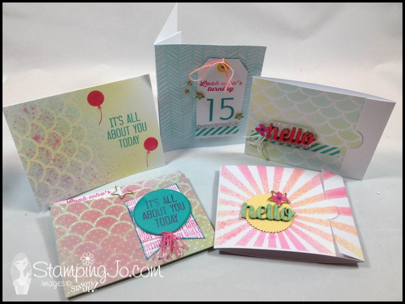 Stamping Jo Hooray It's Your Day kit cards, Stampin Up