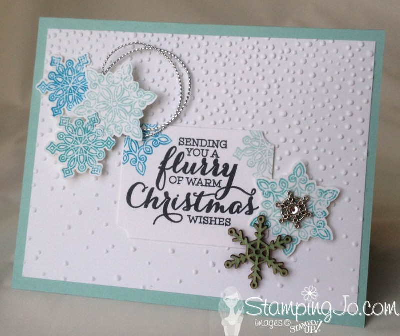 Flurry of Wishes by StampingJo; Christmas card, easy stamped card, homemade card, christmas card idea, winter card, snowflakes, embossing