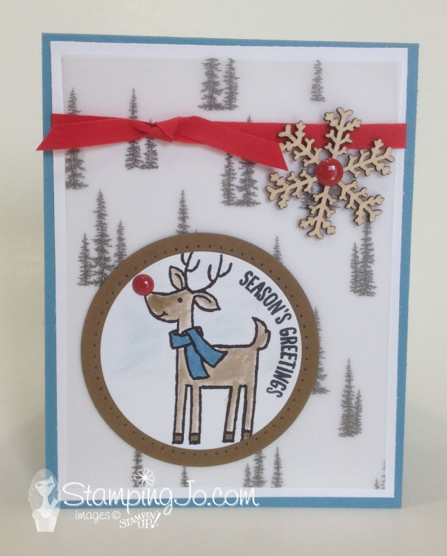 Santa's Gifts, Happy Scenes, christmas card, hand stamped, hand made card, aqua painter, snowflake, rudolph, vellum
