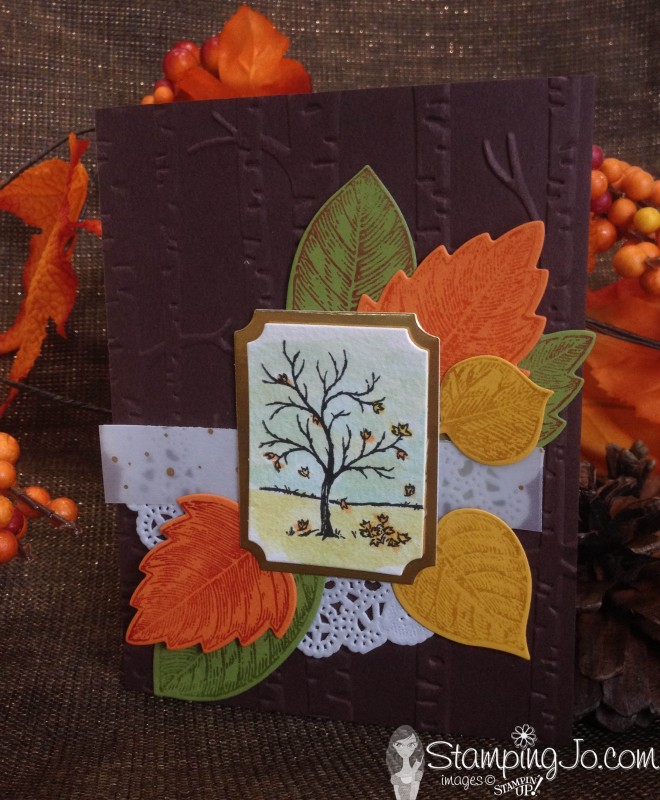 Happy Scenes Watercolor with Vintage Leaves & Leaflets Framelits; handmade card, fall, watercolor, vellum, gold