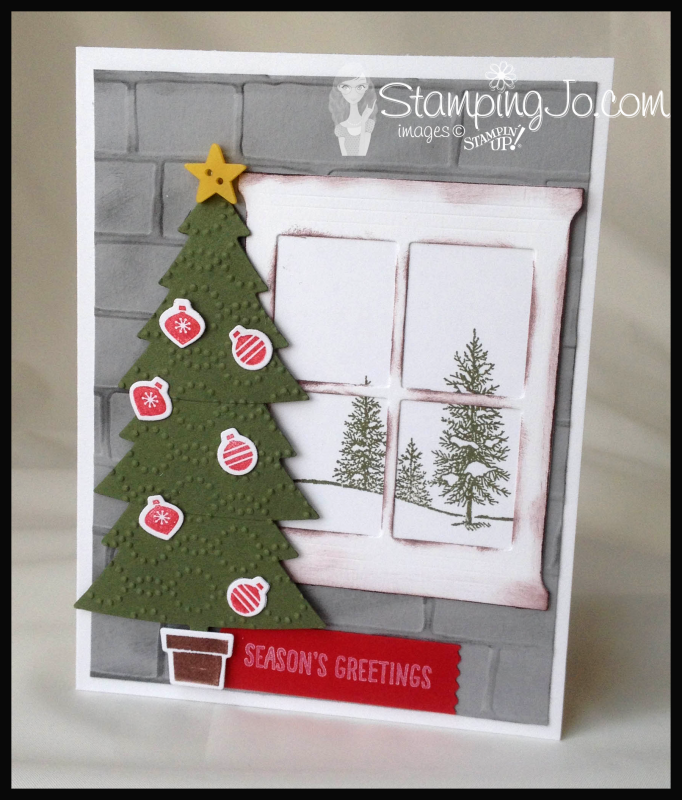 Happy Scenes, Perfect Pines Framelits & Peaceful Pines;Christmas card, easy stamped card, homemade card, christmas card idea