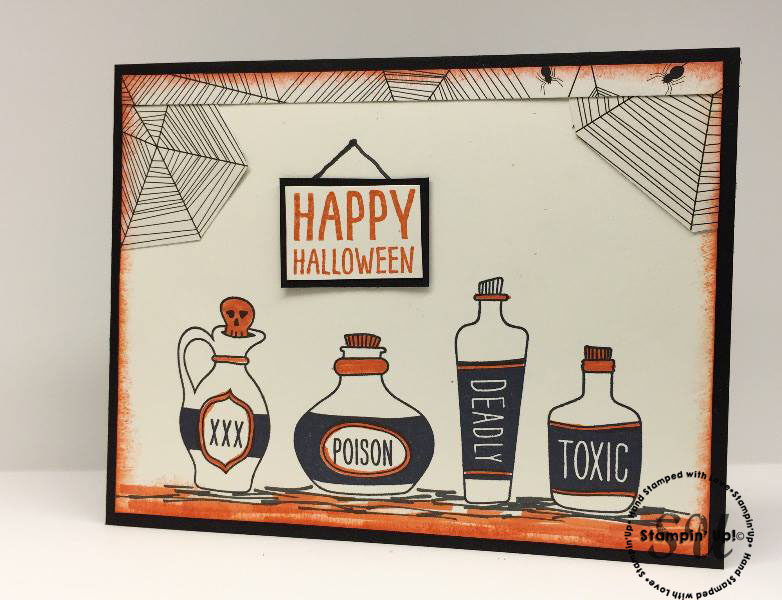 sweet hauntings bottles, halloween card, potion, hand stamped card, hand made card, easy card