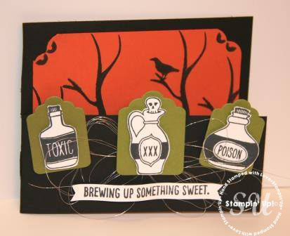 sweet hauntings, halloween card, handmade card, hand stamped card, metallic thread, corner trio punch