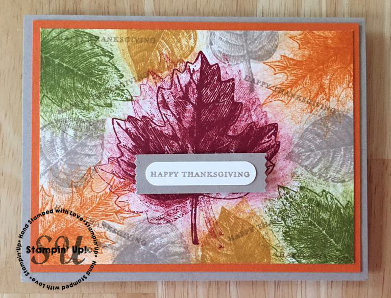 vintage leaves smackdown, hand stamped card, fall, thanksgiving, hand made card
