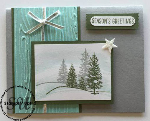 Happy Scenes Christmas card, hand stamped, Stampin' Up, woodgrain embossing folder