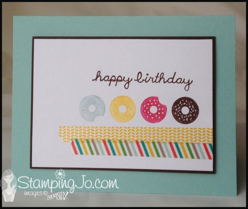 hand stamped birthday card with washi tape
