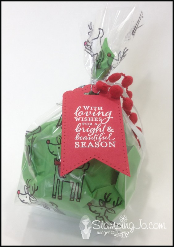 Santa's Gifts stamped Christmas cello gift bag