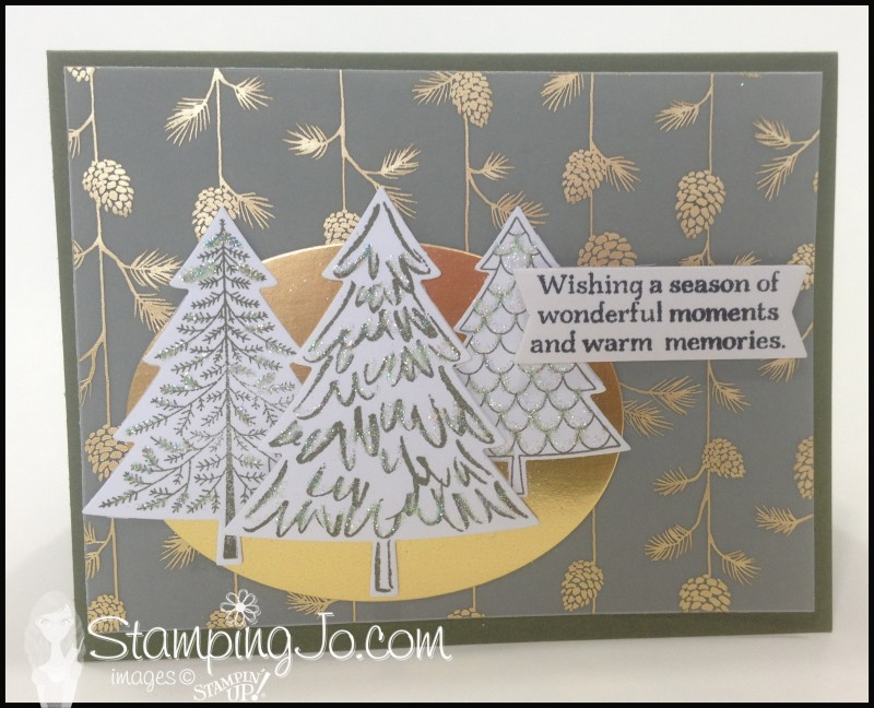 Peaceful Pines, hand stamped, christmas card, vellum, big shot, gold