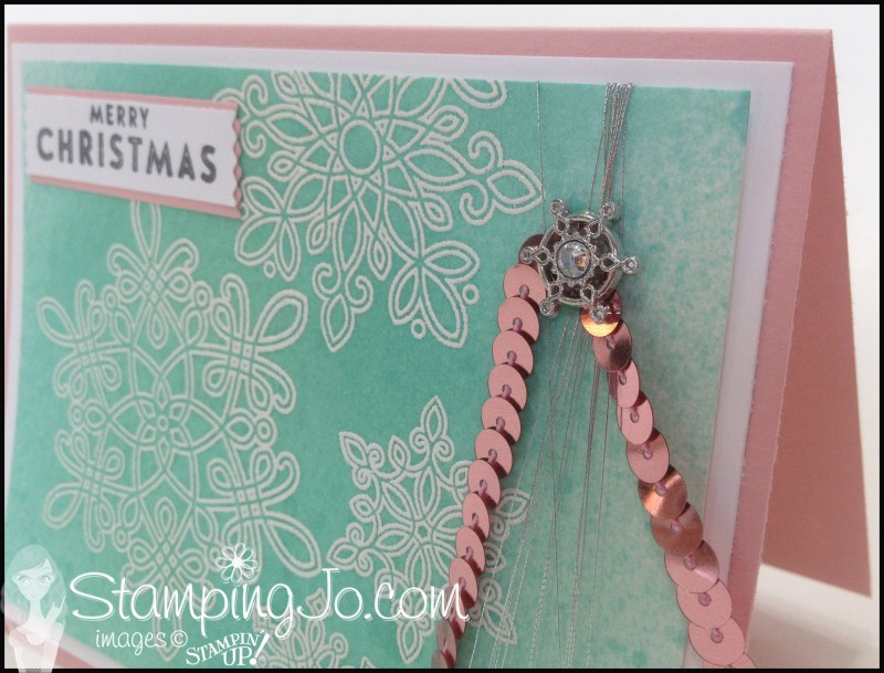 Flurry of Wishes Christmas card, hand stamped christmas card, emboss resist, sequin, non-traditional christmas colors