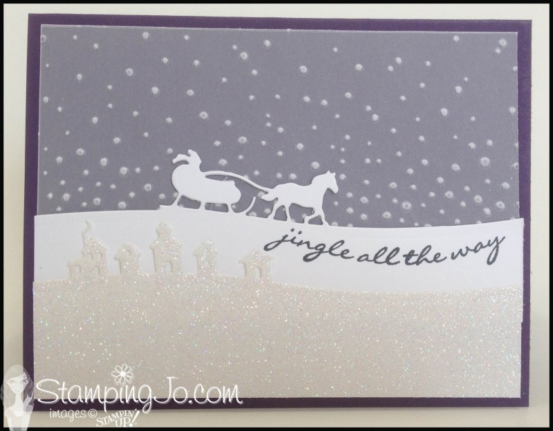 Jingle All the way, Sleigh Ride Edgelits, hand stamped, Christmas card, Big Shot project, Softly Falling embossing folder