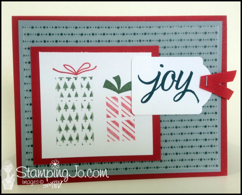 Your Presents Christmas Card, hand stamped, hand made card