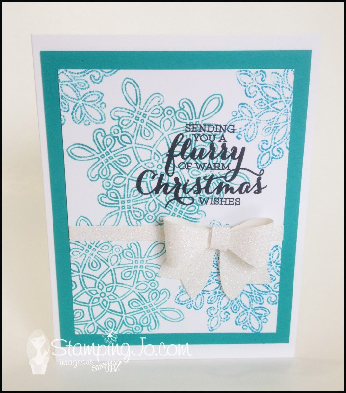 Flurry of Wishes, Christmas card, winter card, snowflake, hand stamped, quick and easy card, Bow Builder punch, Dazzling Diamonds Glimmer Paper