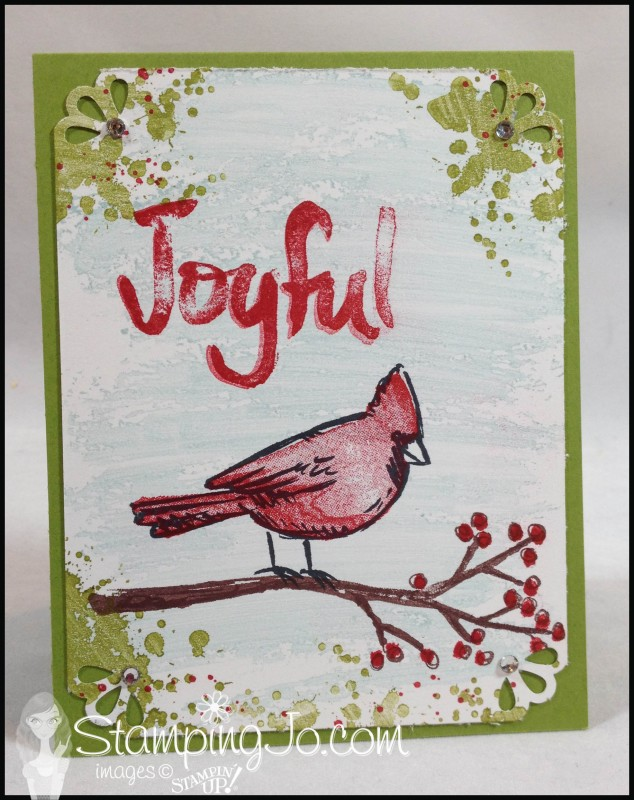 Joyful Season christmas card, hand stamped