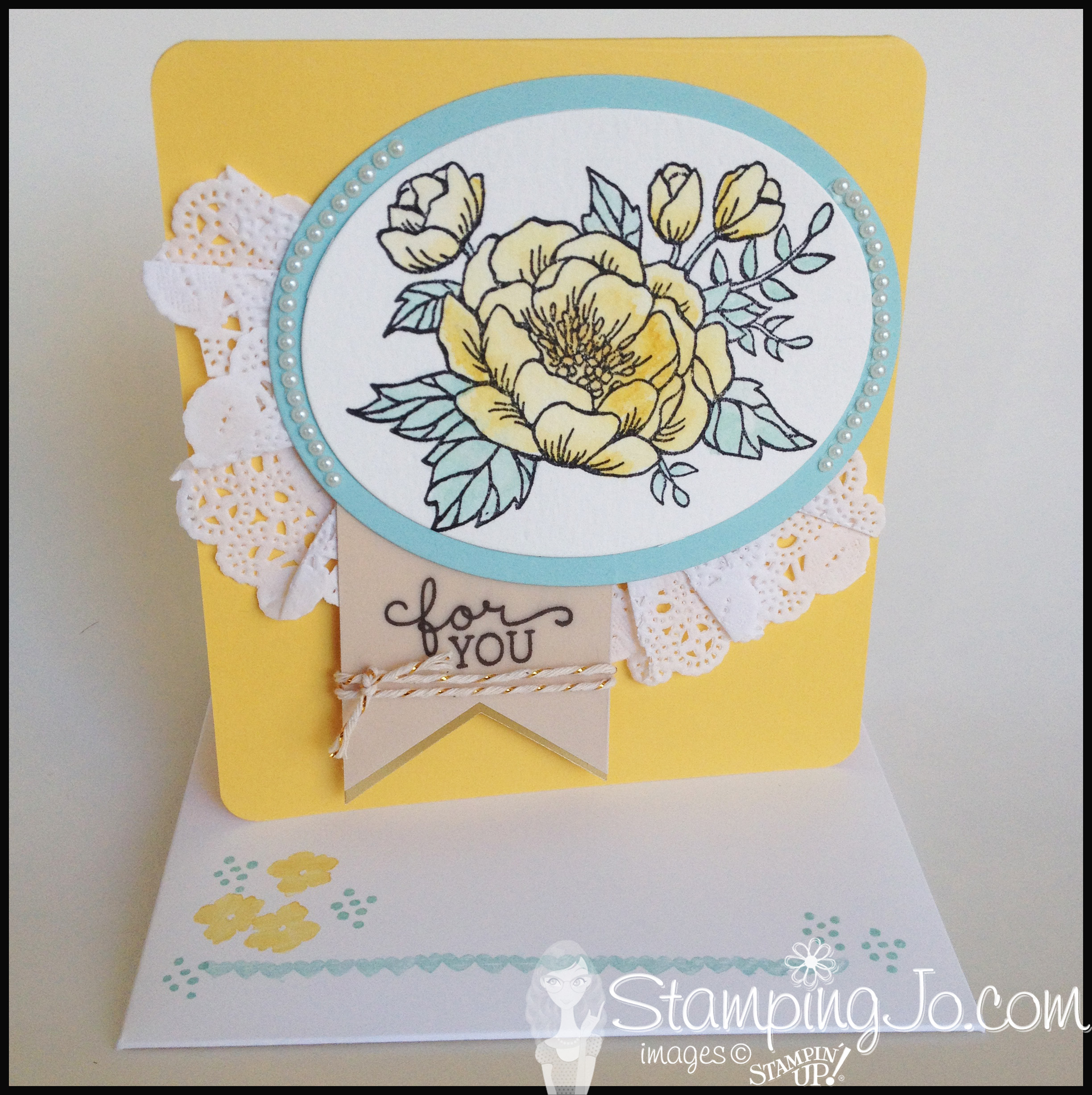 Birthday Blooms hand stamped card