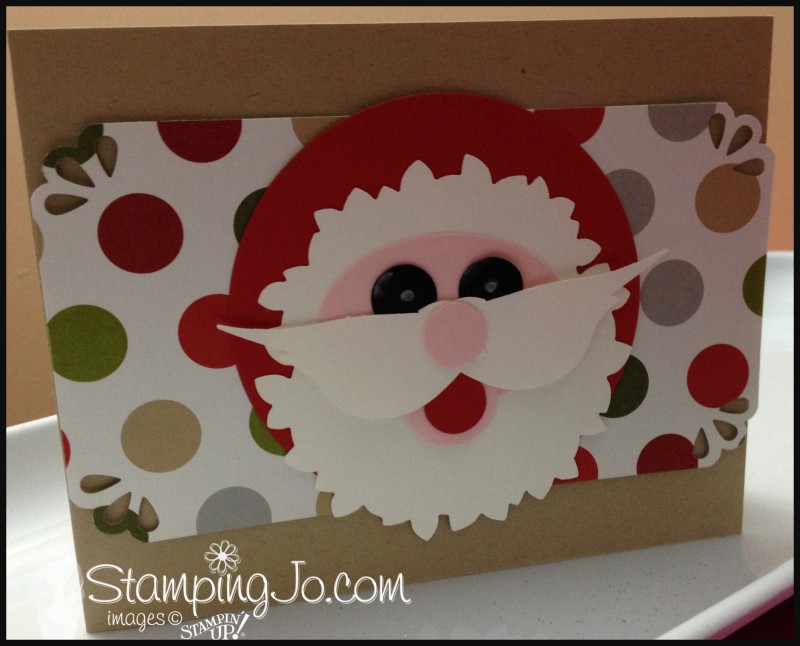 Punched Santa Christmas card, Bird Builder punch, circle punch, Wonderful Wreath Framelits