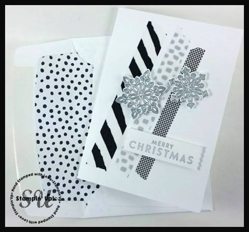 Flurry of Wishes black & white christmas card
