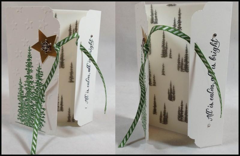 Wonderland gatefold card, hand stamped, Christmas card, Stampin Up