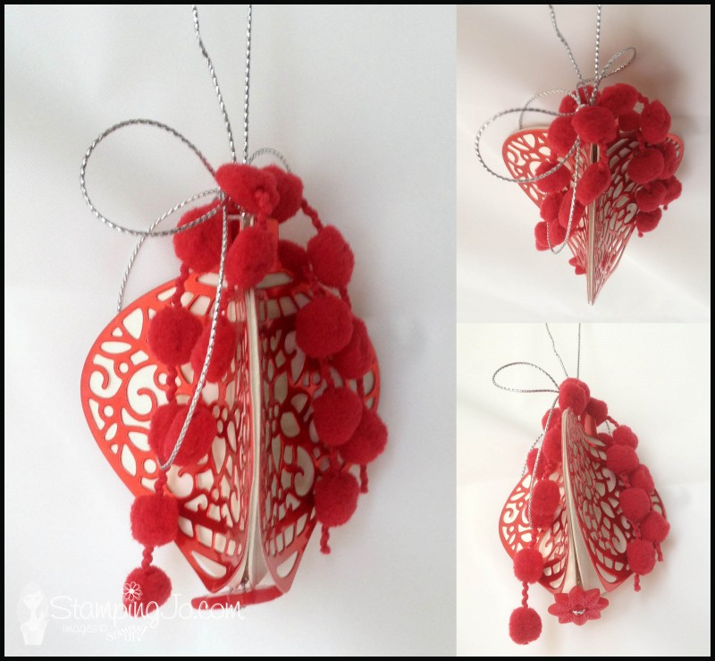 Homemade Christmas tree ornament, Big Shot, coaster board, Delicate Ornament Thinlits Dies, pompom trim