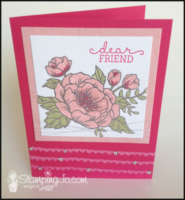 Birthday Blooms, hand stamped, hand made card, friend, birthday card, heat emboss, watercoloring, pink