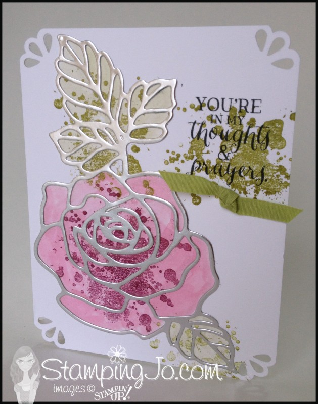 Rose Wonder, Rose Garden Thinlit, hand stamped card, home made card, no layer card, gorgeous grunge, silver foil, Big Shot, Curvy Corner Trio punch, watercolor,