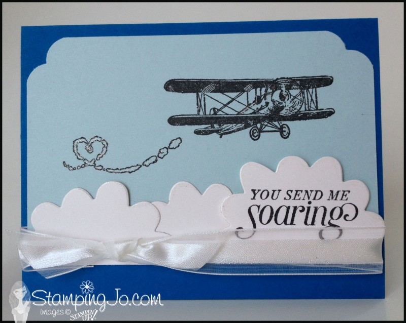Sky is the Limit, Sale-A-bration, airplane, masculine card, hand stamped card, homemade card, die cuts, curvy corner trio punch, big shot, flower fair framelits
