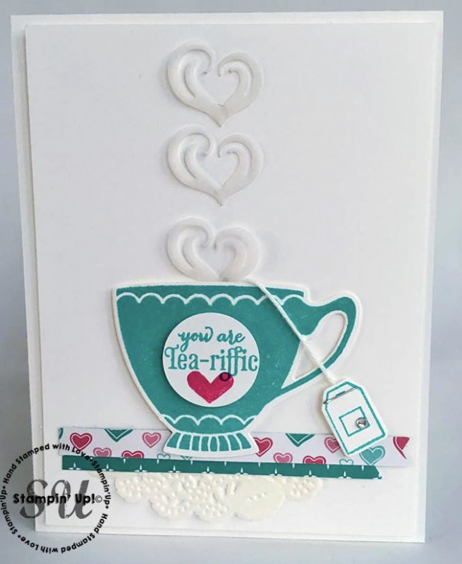 a nice cuppa, Stampin' Up, tea cup, hand stamped card, home made card,