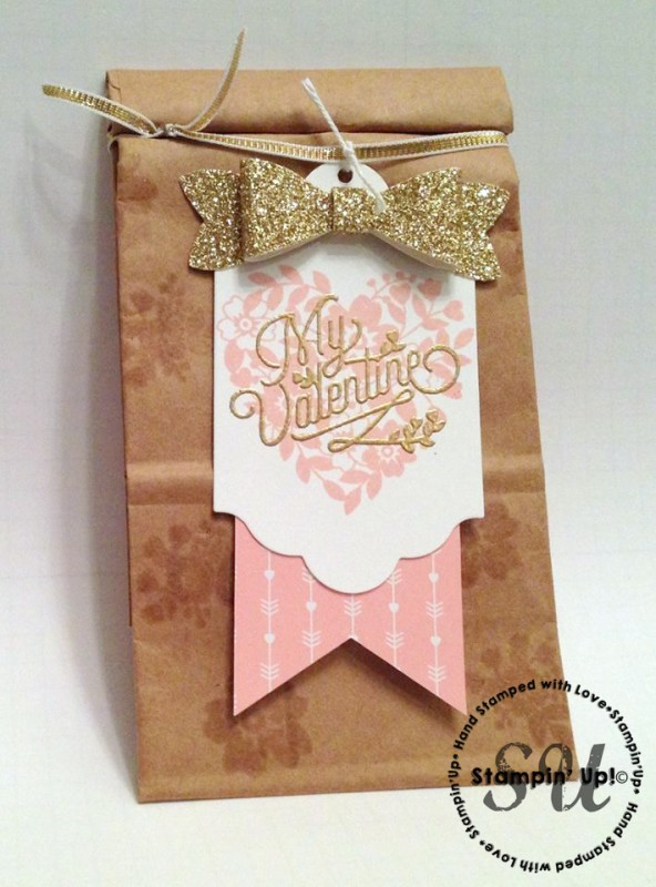bloomin love, gift bag, hand stamped, stampin up, gold, pink, hand made gift, gift tag, valentine gift idea, valentine tag