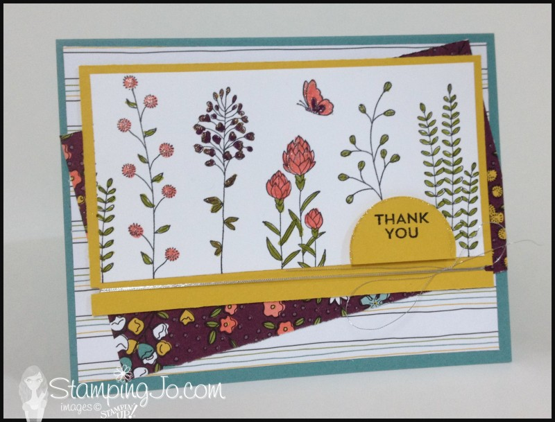 Flowering Fields stamp set, Wildflower Fields Designer Series Paper, Curvy Corner Trio Punch, Silver Metallic Thread, color therapy, hand stamped, hand made card, thank you card, Stampin Up