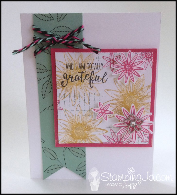 Grateful Bunch, Timeless Textures, Botanical Garden Jewels, Blossom Bunch Punch, Banner Triple Punch, Baker's Twine Combo Pack, Wink of Stella, Stampin Up, hand stamped, hand made card, thank you card