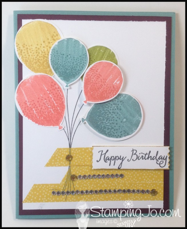 StampingJo Balloon Celebration, hand made birthday card, hand stamped, washi tape, gold wink of stella