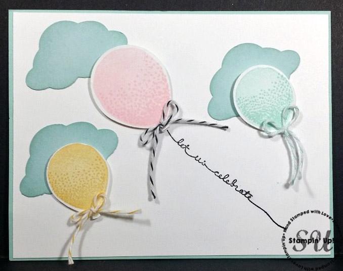 balloon celebration, hand stamped, hand made, birthday card