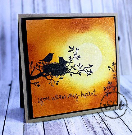 World of Dreams, Sheltering Tree, sunset background, hand stamped, hand-made card