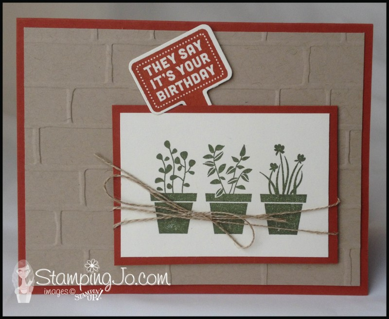 Stake Your Claim, Gift From the Garden, Handpicked Framelits, Stampin'Up, hand stamped, hand made, Birthday card