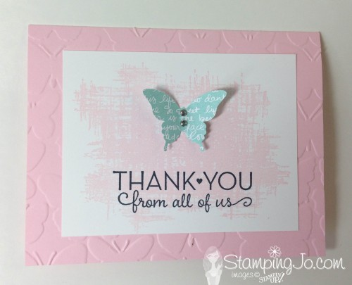 You've Got This, Butterfly punch, hand stamped, thank you card, Stampin' Up, Fluttering TIEF,
