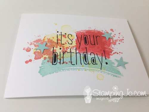 Work of Art, Gorgeous Grunge, Big News, hand stamped, Birthday card, Stampin Up, Itty Bitty Accents punch