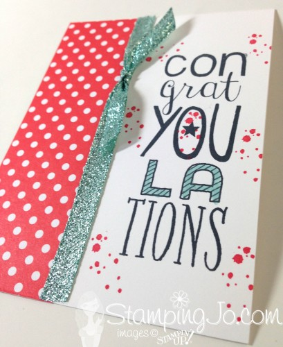 Bravo, congratulations card, Stampin Up, Glitter ribbon, Timeless Textures