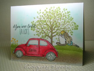 Grateful Bunch, Beautiful Ride, Sheltering Tree, Stampin Up, Valentines Card, VW Beetle, One Layer, Stampin' Royalty