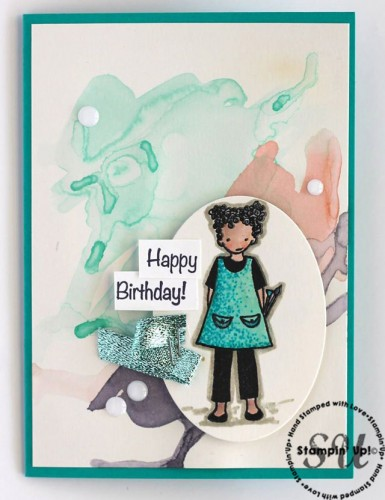 Talented Trio artist, birthday card