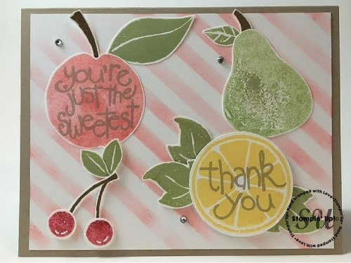 Apple of My Eye, Thank You Card, Stampin' Up, punched card fun