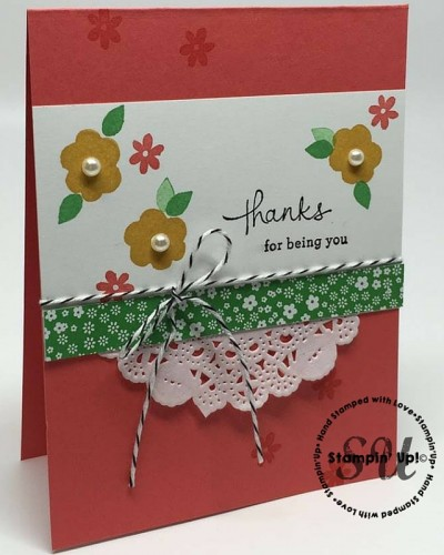 Endless Thanks, Stampin Up, hand stamped thank you card
