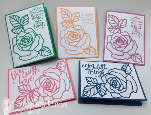 Rose Garden & Layering Love In Color cards by StampingJo
