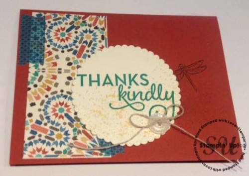 Moroccan Inspired Thank You card using Touches of Texture and One Big Meaning- Stampin' Up