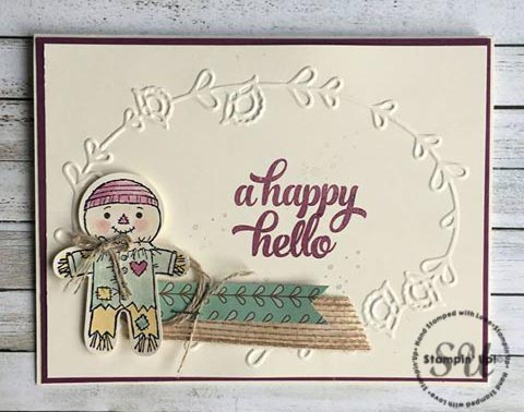 Stampin Up Cookie Cutter Halloween, A Happy Hello, Scarecrow card