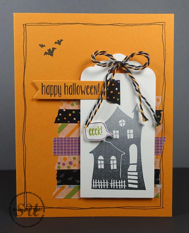 Halloween Scares and Spooky Fun, ombre card-Stampin Up