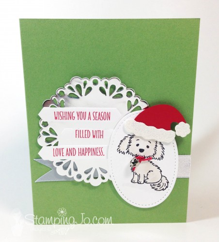 Bella and Friends stamp set, Stampin Up, Handstamped Christmas card by StampingJo.com