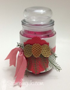 Christmas Pines, Pretty Pines Thinlits, Stampin Up, hostess gift, decorated candly by StampingJo.com