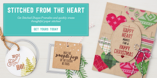Stitched Shapes Framelits Dies for the Big Shot and gorgeous hand stamped cards! Available from Stampin' Up