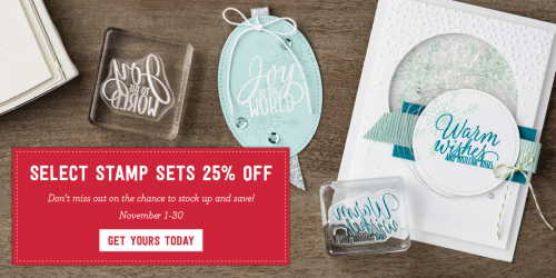 Select stamp sets 25%off from Stampin Up- shop at www.stampingjo.com